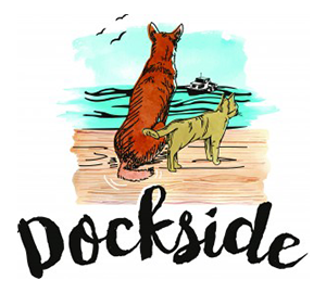 dockside dog and cat illustration by the ocean on a beach