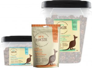 A selection of Pawzzie kangaroo treats for dogs and cats.